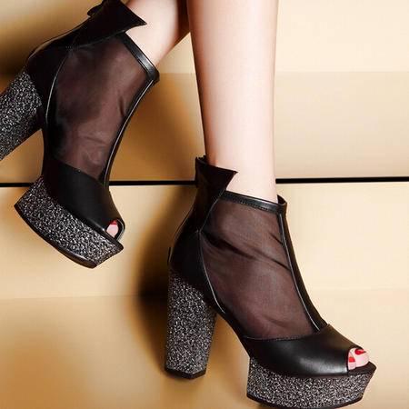moolecole/莫蕾蔻蕾透气黑丝网纱鱼嘴粗跟鞋时尚女鞋包邮