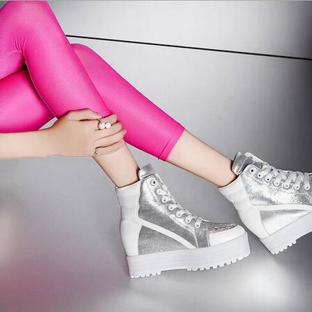 moolecole/莫蕾蔻蕾 休闲水钻内增高鞋时尚女鞋包邮