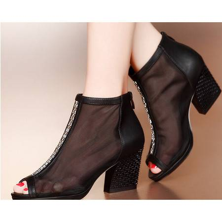 moolecole/莫蕾蔻蕾 鱼嘴网纱水钻异形跟时尚女鞋包邮