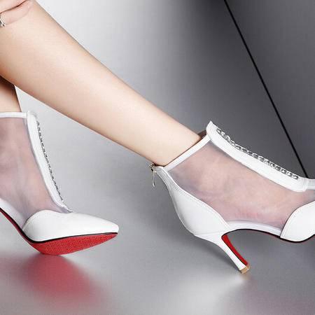 moolecole/莫蕾蔻蕾 新款雅尖头水钻网纱细跟女鞋时尚女鞋包邮
