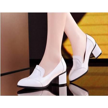 2015新款时尚舒适优雅女鞋 经典知性尖头马蹄跟单鞋时尚女鞋包邮