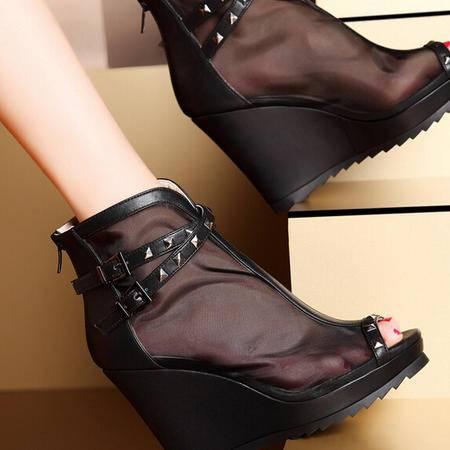 moolecole/莫蕾蔻蕾 性感鱼嘴坡跟鞋时尚女鞋包邮