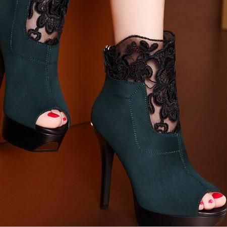 moolecole/莫蕾蔻蕾 新款时尚优雅女鞋 性感鱼嘴细跟单鞋时尚女鞋包邮