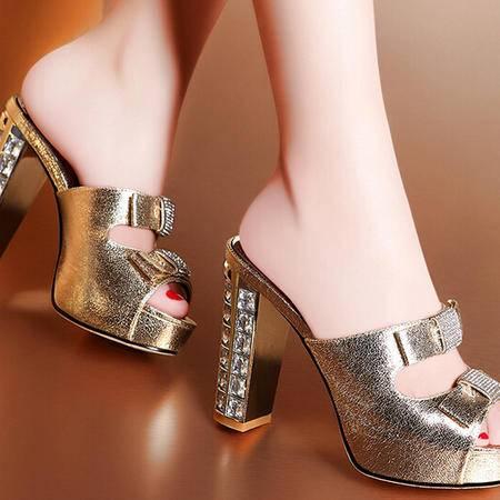 moolecole/莫蕾蔻蕾热款爆款 优雅鱼嘴水钻粗跟鞋时尚女鞋包邮