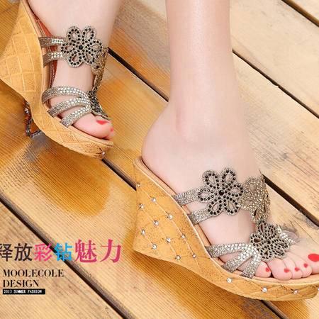 moolecole/莫蕾蔻蕾 夏季凉拖罗马坡跟水钻套趾拖鞋高跟女鞋