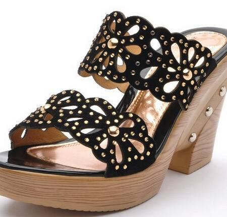 moolecole正品真皮女拖鞋头层牛皮坡跟水钻镂空女鞋拖鞋