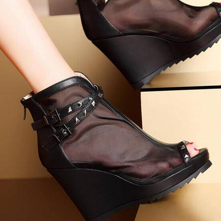 MOOLECOLE莫蕾蔻蕾 春季新款坡跟凉鞋高跟女鞋