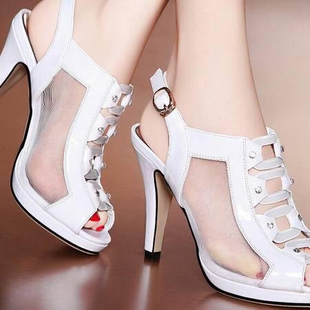 莫蕾蔻蕾 夏季新款 鱼嘴高跟鞋细跟女凉鞋水钻网纱女鞋
