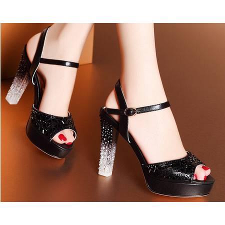 莫蕾蔻蕾 夏季新款奢华水晶跟女鞋高跟粗跟防水台凉鞋
