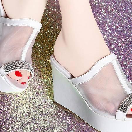 莫蕾蔻蕾 夏季新款网纱高跟鞋时尚坡跟女鞋水钻凉拖鞋