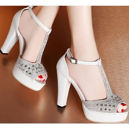 莫蕾蔻蕾 夏季新款高跟粗跟女鞋水钻鱼嘴防水台凉鞋子