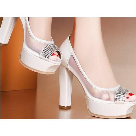 莫蕾蔻蕾 夏季新款水钻鱼嘴高跟粗跟女鞋透气网纱凉鞋