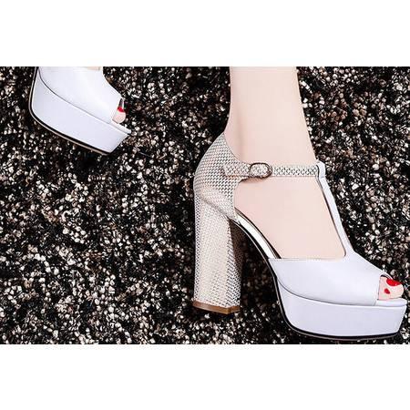 莫蕾蔻蕾  夏季新款拼色女鞋防水台高跟鞋粗跟鱼嘴女凉鞋