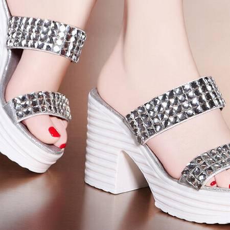 莫蕾蔻蕾 夏季新款潮粗跟高跟鞋女鞋水钻套趾女拖鞋子
