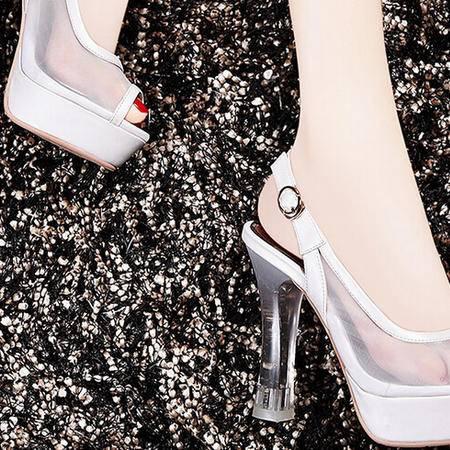 莫蕾蔻蕾 夏季新款性感鱼嘴高跟鞋粗跟女鞋网纱女凉鞋子