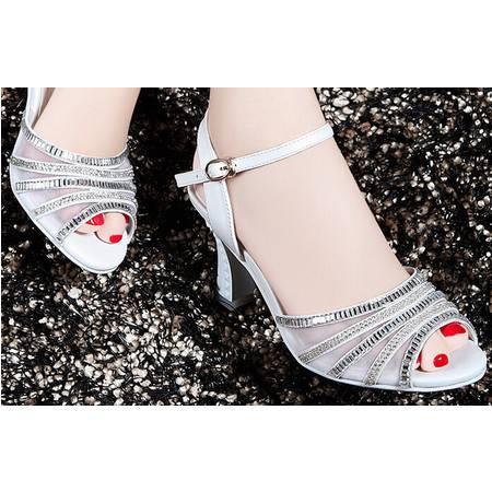 莫蕾蔻蕾 夏季新款水钻高跟鞋女鞋水钻网纱粗跟女凉鞋子