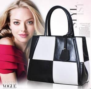 女包新款欧美潮流撞色品牌女士 包包牛皮真皮女包源自欧美设计师 时尚包邮