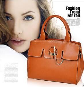 牛皮真皮包百搭链条气质休闲手提单肩包女包手袋源自欧美设计师 时尚包邮