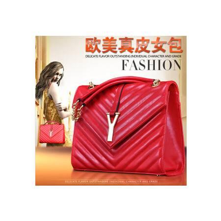 欧美潮流Y字链条复古牛皮包包手提包单肩真皮女包源自欧美设计师 时尚包邮