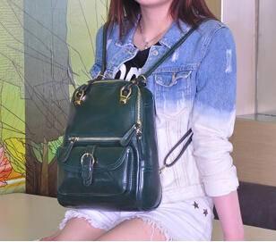 时尚双肩包牛皮单肩背包 学生斜跨手提包源自欧美设计师 时尚包邮