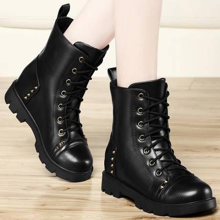 古奇天伦 平底女靴新款马丁靴秋季铆钉女短靴内增高骑士靴正品包邮