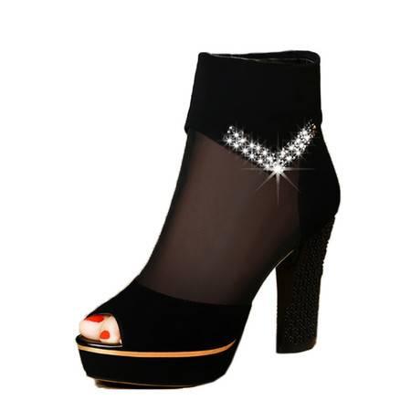 古奇天伦 女鞋新款女凉鞋秋季高跟单鞋粗跟防水台网纱鱼嘴鞋女   正品包邮