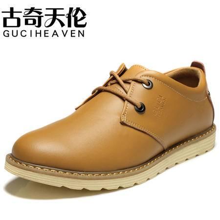 古奇天伦春秋新款男士休闲鞋真皮板鞋男流行男鞋低帮潮流鞋子正品包邮