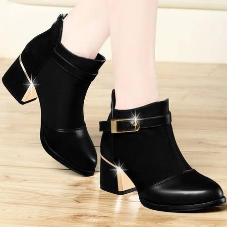 古奇天伦 女靴新款短靴女秋季透气网纱马丁靴尖头租跟靴女  正品包邮