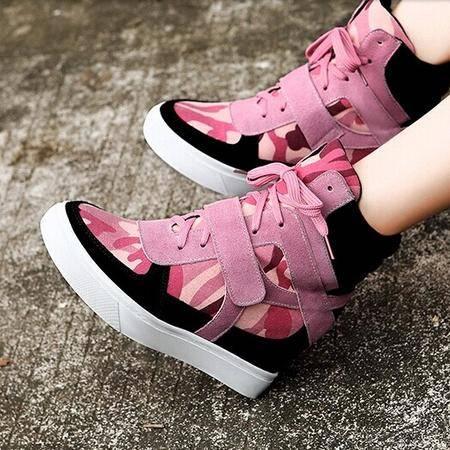 莫蕾蔻蕾 秋款高跟内增高女鞋子单鞋松糕跟高帮鞋拼色休闲鞋