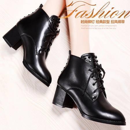 莫蕾蔻蕾秋冬季欧美时尚潮流女鞋真皮高帮粗跟系带防水台高跟鞋