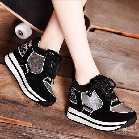 莫蕾蔻蕾 秋季新款头层牛皮松糕厚底铆钉内增高单鞋韩版休闲女鞋