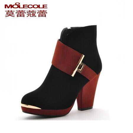 秋冬新款莫蕾蔻蕾粗高跟短靴3穿防水台踝靴女靴子正真品