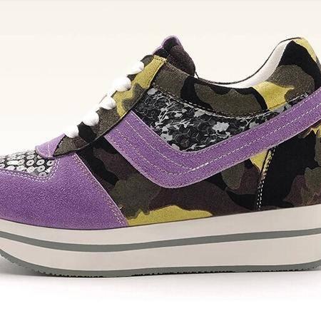 莫蕾蔻蕾 秋冬新款休闲女鞋内增高松糕低帮鞋亮片单鞋