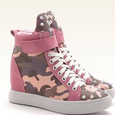 莫蕾蔻蕾 秋季厚底休闲鞋女韩版高跟高帮鞋内增高女鞋系带单鞋