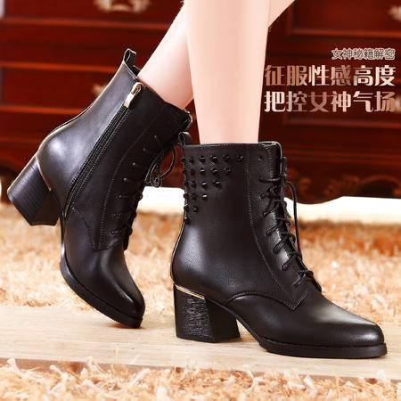 莫蕾蔻蕾秋冬季时尚复古真皮马丁靴高帮粗跟高跟女靴潮流拉链女鞋