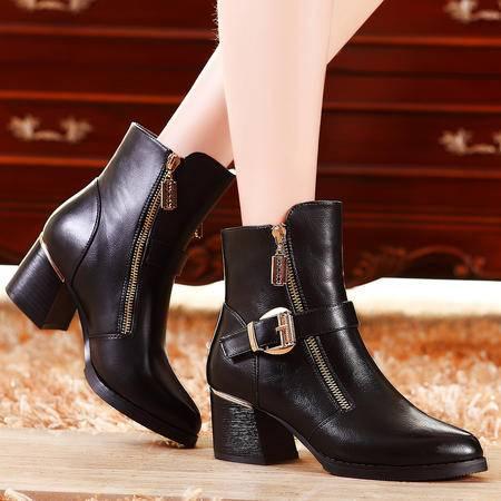 莫蕾蔻蕾秋冬季新款中筒女式靴子粗高跟真皮拉链马丁靴一字皮带扣