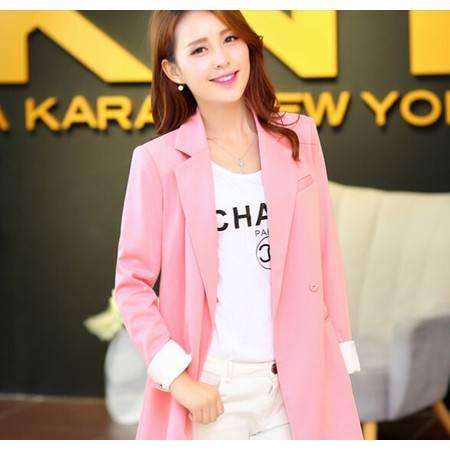 秋冬季新品粉色长款小西服韩版休闲长袖女外套 正品包邮