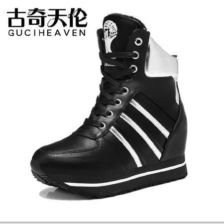 古奇天伦 冬季新款松糕鞋 运动休闲高帮鞋 加绒保暖内增高女鞋