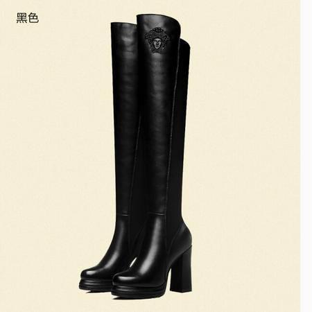 古奇天伦 秋冬新款女鞋英伦粗跟长靴高跟瘦腿高筒靴女靴子