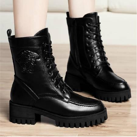 古奇天伦 秋冬新款中筒靴机车靴粗跟骑士靴中跟英伦风女靴