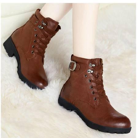 古奇天伦 秋冬新款英伦头层牛皮女靴真皮马丁靴短筒靴圆头短靴