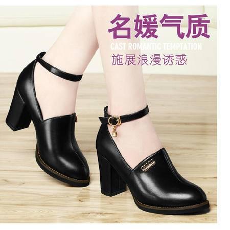 古奇天伦 春秋季新款潮尖头时尚单鞋女粗跟甜美高跟女鞋子