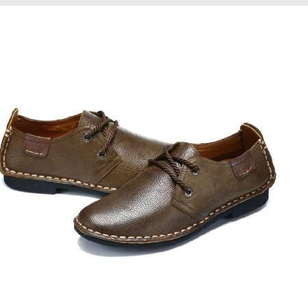 古奇天伦 春季新款真皮皮鞋 日常休闲男鞋子 低帮鞋