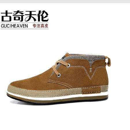 古奇天伦 冬季新款男鞋 反毛牛皮男鞋 日常休闲高帮鞋子