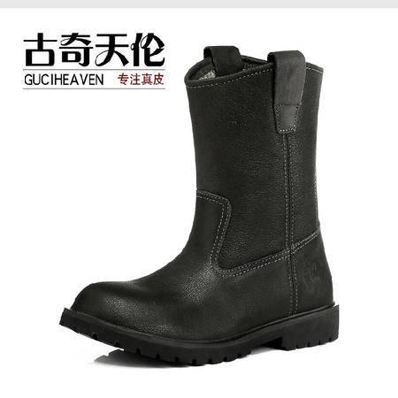 古奇天伦 新款潮款英伦头层牛皮靴硬汉工装真皮男中筒棉鞋