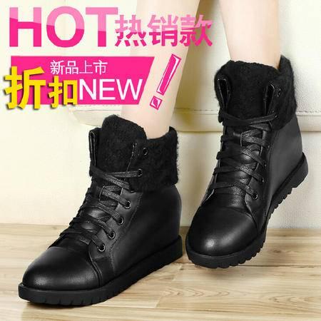 古奇天伦 针织围口鞋内增高女鞋 休闲高帮鞋子 系带平底马丁鞋