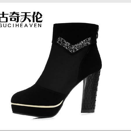 古奇天伦 春秋新款短靴 时尚优雅裸靴单靴 潮流短筒女靴时装靴