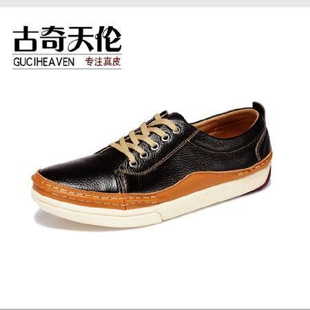 古奇天伦 头层牛皮韩版时尚潮流男鞋日常运动休闲鞋板鞋子