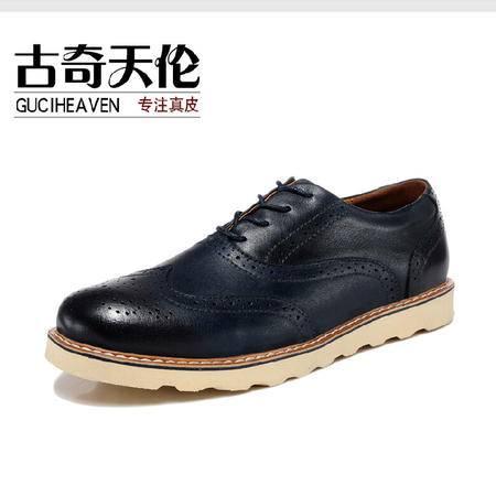 古奇天伦 手工布洛克牛皮男鞋真皮舒适皮鞋日常休闲潮流鞋子
