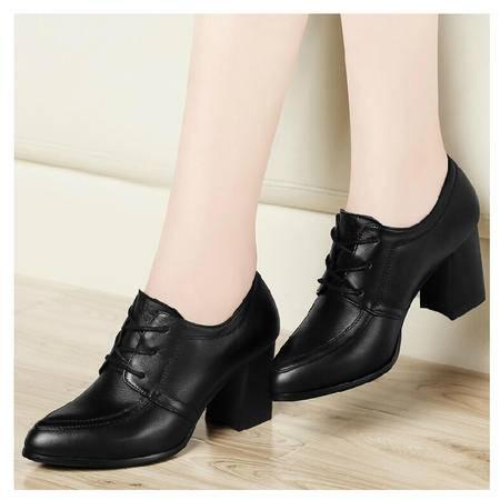 古奇天伦 秋季新款英伦头层牛皮女鞋粗跟高跟鞋休闲单鞋真皮
